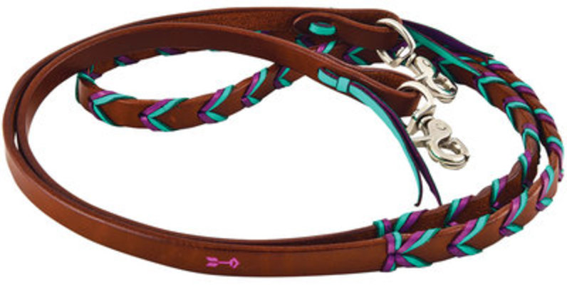 Rafter T Leather Plaited Barrel Racing Reins