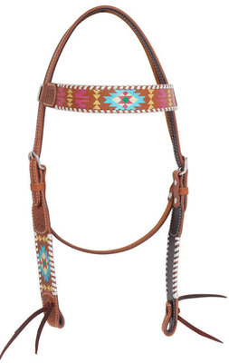 Rafter T Painted Aztec Browband Headstall