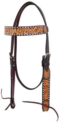 Rafter T Tooled Sunflower w/ Buckstitch Browband Headstall