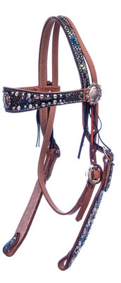 Rainbow Mystic Python Browband Headstall, Full