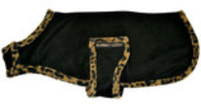 Rambo Newmarket Dog Fleece, Black w/ Leopard Trim
