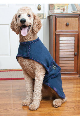Rambo Newmarket Dog Fleece, Navy & Pink w/ Polka Dot Trim