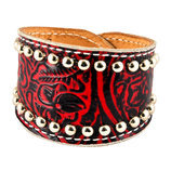 Red Floral Cuff with Stainless Spots