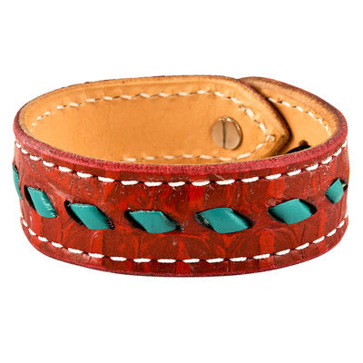 Buckstitch Bracelet, Red Gator & Turquoise
