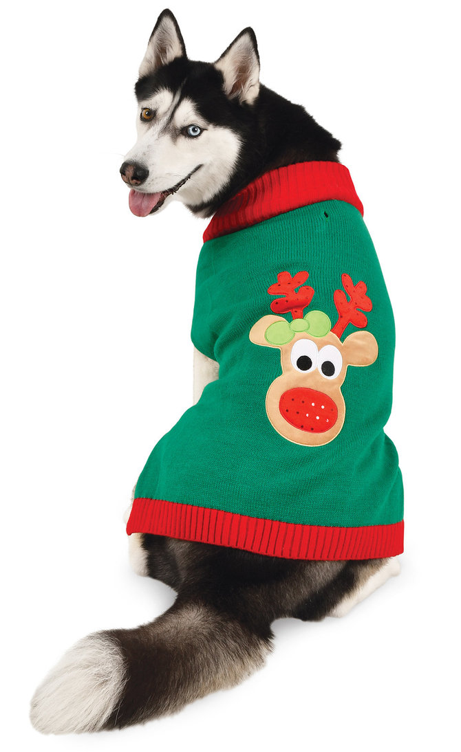 Simply Dog CHRISTMAS Red /& Green Sweater Reindeer Face Puppy//Dog xxsmall