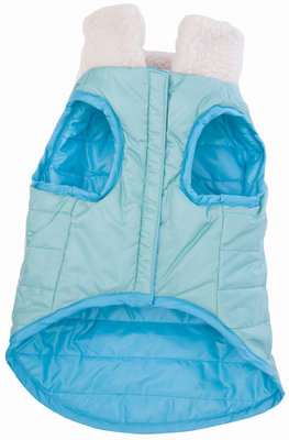 Blue Reversible Puffy Dog Coat, Small
