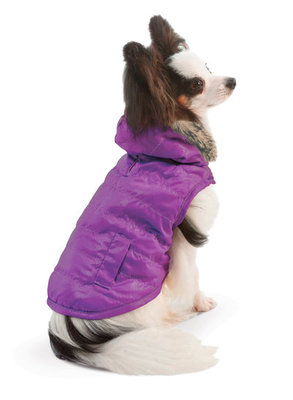 Large Reversible Puffy Coat, Purple/Black
