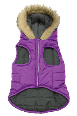 Small Reversible Puffy Coat, Purple/Black