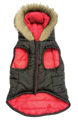 Large Reversible Puffy Coat, Red/Black