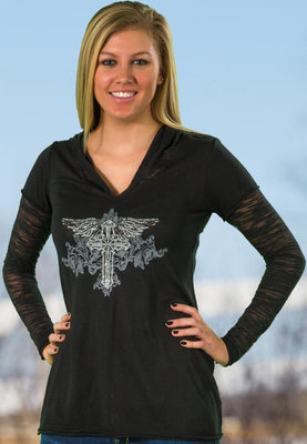Rhinestone Cross Burnout Sleeve Tee