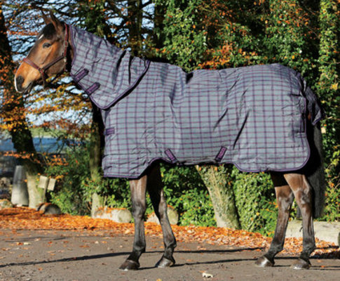 Rhino Plus Turnout Med Weight, Charcoal/Purple Check