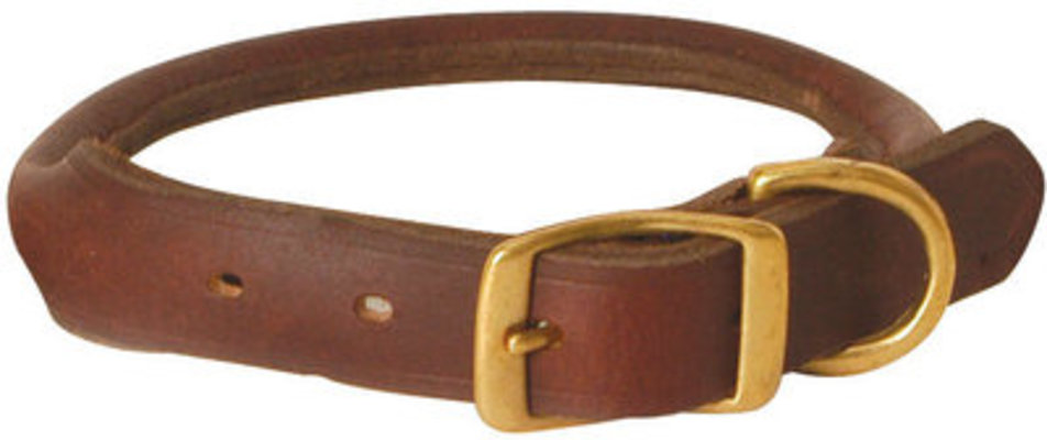 "13"" Rolled Leather Collar, 5/8"" W"