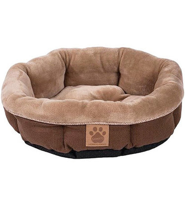 "Rustic Elegance Round Shearling Pet Bed, 17""D"