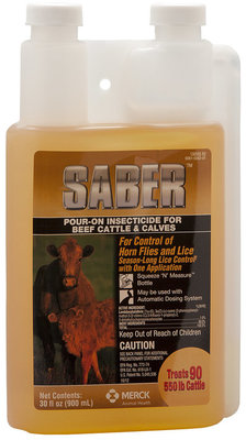 Saber Pour-On Insecticide, 900 mL