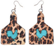 San Saba Leather Chicken Earrings