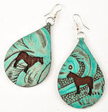 San Saba Leather Teardrop Earrings with Overlay