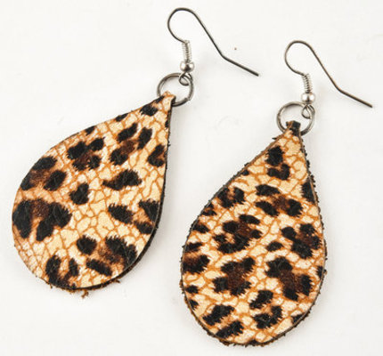 San Saba Leather Teardrop Earrings