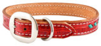 San Saba Red Gator Dog Collar