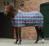 Saxon 600D Standard Neck Stable Blanket, Dark Blue/Claret Plaid
