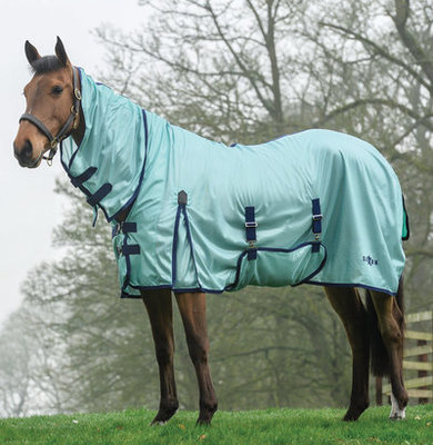 Saxon Combo Neck Mesh Fly Sheet, Aqua/Navy