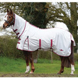 Saxon Combo Neck Softmesh Fly Sheet, White/Burgundy