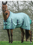 Saxon Standard Neck Mesh Fly Sheet, Aqua with Navy