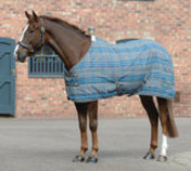 Saxon Standard Neck Stable Blanket, Med Weight, Gray/Blue Plaid