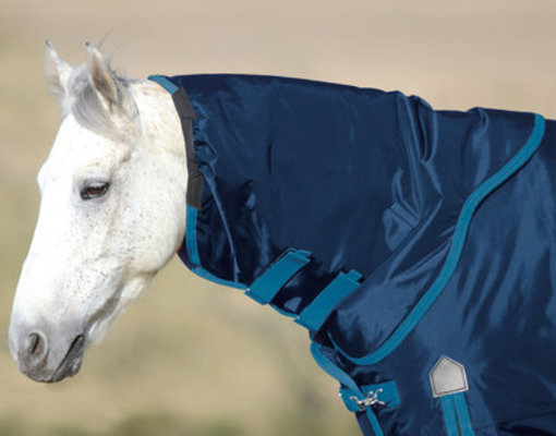 Shires Storm Breaker Plus Neck Rug, Navy/Turquoise