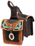 Showman Basketweave Tooled Leather Horn Bag with Beaded Inlay