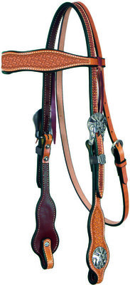 Six Shooter Tooled Headstall with Pistol Conchos, Brownband
