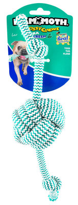 Flossy Chews Extra Fresh Monkey Fist Ball w/ 2-Knot Rope Bone