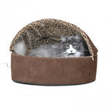 Mocha Leopard Thermo-Kitty Deluxe Hooded Bed