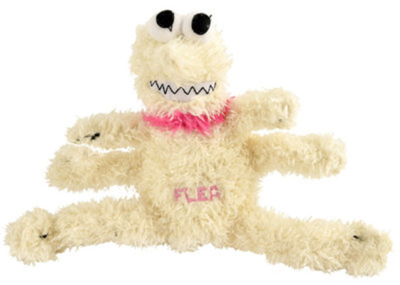 Small Plush Flea Dog Toy, 6""