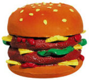 Spanish Latex Double Cheeseburger Squeak Toy