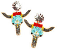 Steer Head Seed Bead Earrings
