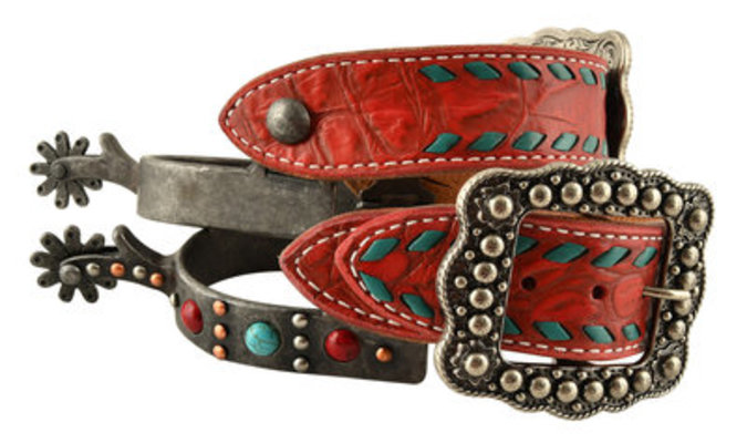 Stone Spur & Spur Strap Set, Red/Turquoise