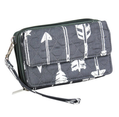 """Straight & Arrow"" Crossbody Clutch, Gray"