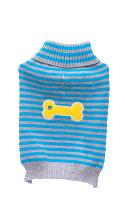 XSmall Turquoise Striped Bone Patch Sweater