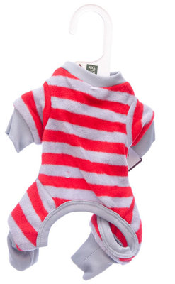 Small Red Striped Dog Pajamas