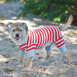 Red/Gray Striped Dog Pajamas