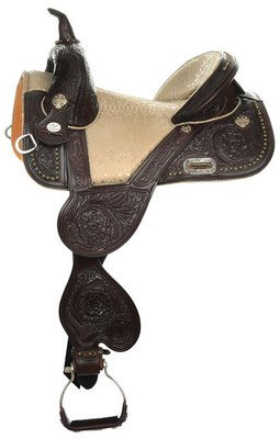 Tammy Fischer Palomino Treeless Barrel Saddle, Wide, Chocolate