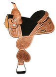 Tammy Fischer Tulip Treeless Barrel Saddle, Wide, Antique