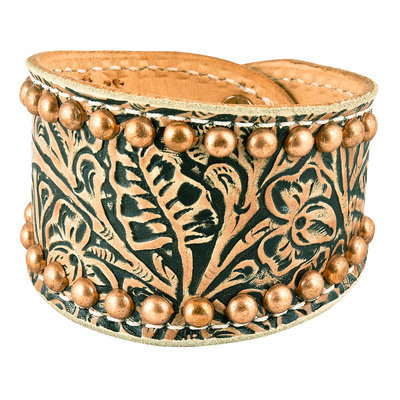Tan Floral Cuff with Copper Spots