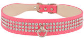 Tapered Faux Leather Dog Collar with Rhinestones