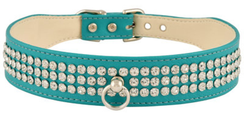 Faux Leather Dog Collar with Rhinestones