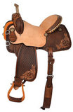 Team Camarillo Chocolate Swirl Barrel Saddle, Wide Tree, Vintage