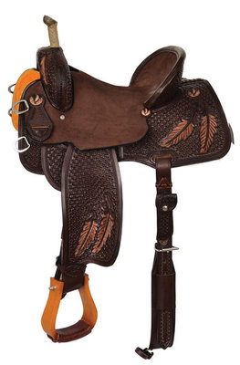 Team Camarillo Fine Feathers Barrel Saddle, Regular Tree, Chocolate