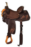 Team Camarillo Fine Feathers Barrel Saddle, Wide Tree, Chocolate