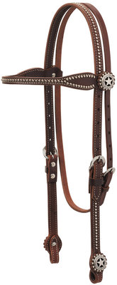 Texas Star Oiled Canyon Rose Harness Leather Browband Headstall, Full