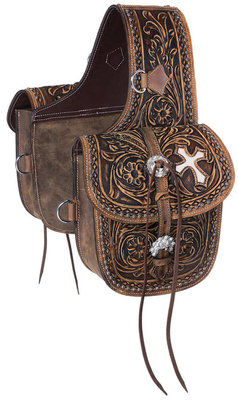 Antique Tooled Leather Saddle Bag